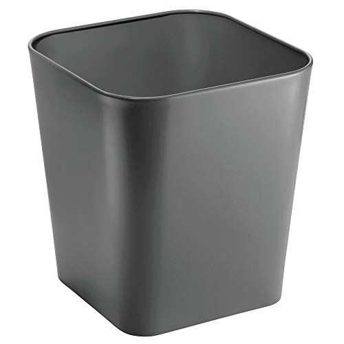 mDesign Decorative Metal Square Small Trash Can Wastebasket, Garbage Container Bin - for Bathrooms, Powder Rooms, Kitchens, Home Offices - Slate Gray