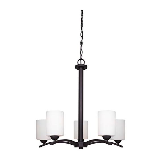"Canarm ICH370A05ORB-O Hampton 5 Light Chain Chandelier with Flat Opal Glass - Size: A, 24"" W x 24"" H Flat Opal Glass 5 x 100W A bulbs - kitchen-dining-room-decor, kitchen-dining-room, chandeliers-lighting - 31pcMHkuXbL. SS570  -"
