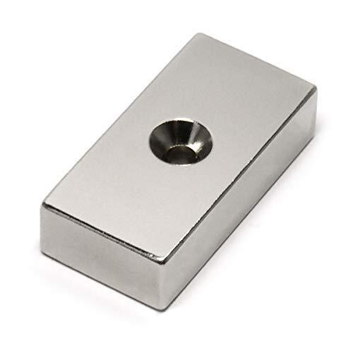 "CMS Magnetics Bar Magnets Rare Earth Neodymium 2"" X 1"" X 1/2"" w/ #10 Hole Countersink on Both Sides 1 PC"