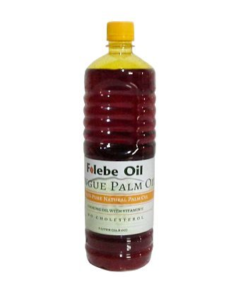 100% Pure Natural Red Palm Oil. 1L. No Cholesterol Cooking Oil with Vitamin E. Cruelty-Free Palm Oil rich in anti-oxidants. Folebe Oil. Cameroon Palm Oil. by Folebe Oil