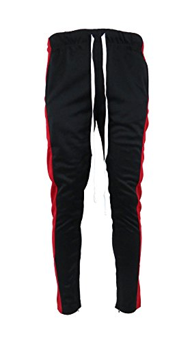 Henry & William Men's Techno Track Pants W/Ankle Zipper (Black Red, S) Ankle Accent
