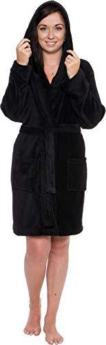 - Silver Lilly Lightweight Hooded Short Robe for Women - Plush Fleece Luxury Kimono Bathrobe (Black, XL)