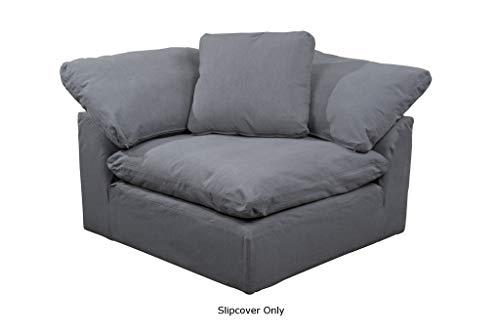 (Sunset Trading SU-145851SC-391094 Cloud Puff Sofa Sectional Modular Arm Chair Performance Gray Furniture Slipcover, Grey)