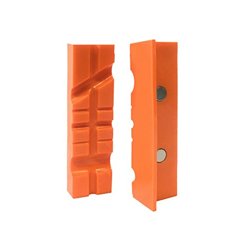 "HORUSDY 4.5"" Universal Vise Jaws, Magnetic Retention Vise Pads, Orange Urethane Soft Jaws"