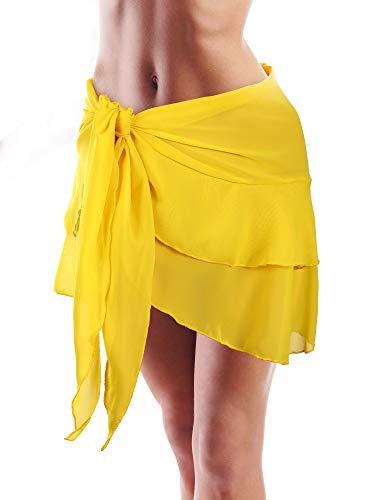 (Hestya Women Swimsuit Wrap Beach Wrap Chiffon Pareo Bikini Skirt Cover-up, Ruffle Sarong Wrap for Beach Vacations (Yellow-Short Wrap))