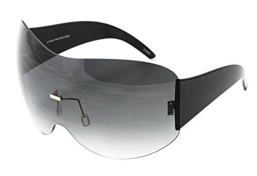 a54e01ad4a Big Huge Oversize Glasses Rimless Shield Visor Aviator Sunglasses Mirror  Oceanic Tinted Lens