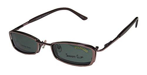 Smart Clip 293 Mens/Womens Rx Ready Fancy Designer Full-rim Spring Hinges Sunglass Lens Clip-Ons Eyeglasses/Eye Glasses (48-19-140, Light Brown)