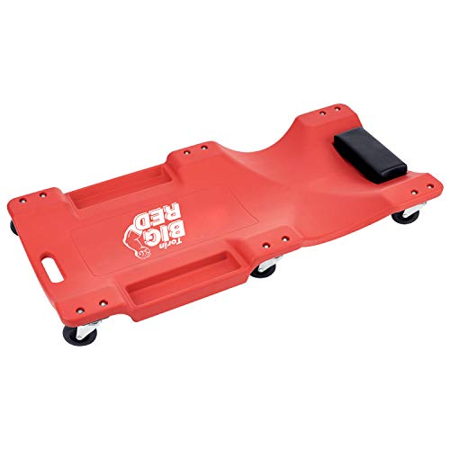 Torin Big Red Rolling Garage/Shop Creeper: 40' Plastic Mechanic Cart with Padded Headrest, Red