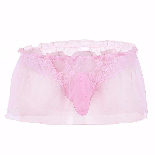 Ruffle Brief - Crossdress Panties FEESHOW Men's Jockstrap Lace Briefs Sissy Pouch Underwear Ruffle Skirted Pink X-Large