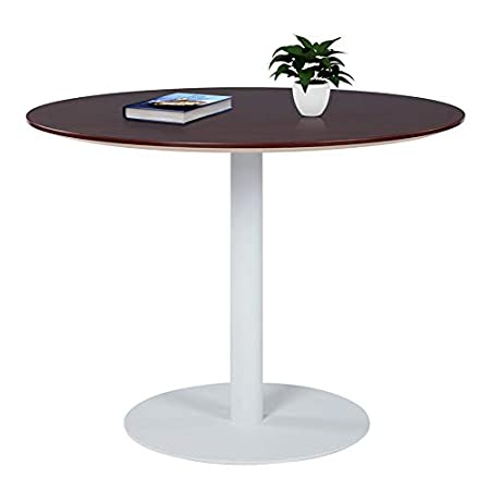 Sunon Round Conference Table Small Dining Table With White Pedestal Base 40 X 30 Inch Height Virginia Walnut Pedestal Tables