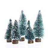 Factory Direct Craft Miniature Sisal Bottle Brush Christmas Trees (20 Trees - 3 to 4 Inches Tall, Green Frosted)