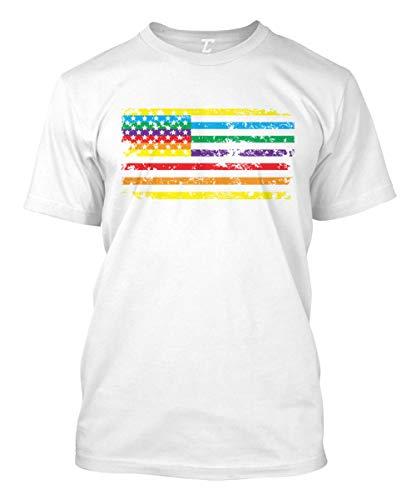 Rainbow American Flag - Gay Pride LGBTQ Men's T-Shirt (White, Small) - White Gay Marriage T-shirt