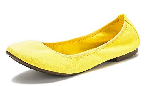(DREAM PAIRS Women's Latte Yellow Comfort Ballet Flats Shoes Size 5.5 B(M) US)