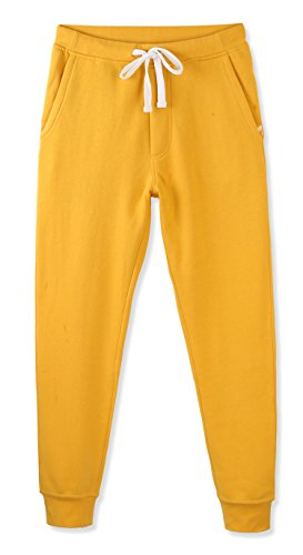 HETHCODE Mens Classic Fit Basic Fleece Closed-Bottom Pocketed Joggers Sweatpants Apricot Gold L ()