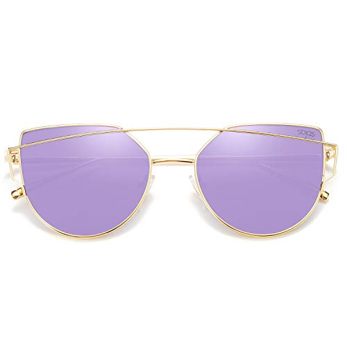 SOJOS Cat Eye Mirrored Flat Lenses Street Fashion Metal Frame Women Sunglasses SJ1001 with Gold Frame/Purple Mirrored ()