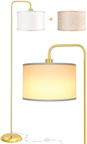 LED Floor Lamp for Living Room, PARTPHONER Modern Standing Lamp with 2 Hanging Shades (White/Oatmeal), Classic Standing Lamp with Foot Switch Simple Basic Floor Lamp for Living Room Bedroom, Gold