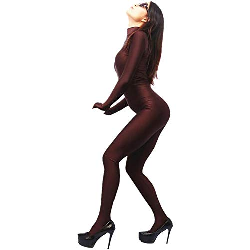 Small Stand Collar Super Soft Silky Spandex Body Piece Women's Bottoming Underwear Tight Tailored (Brown, ()