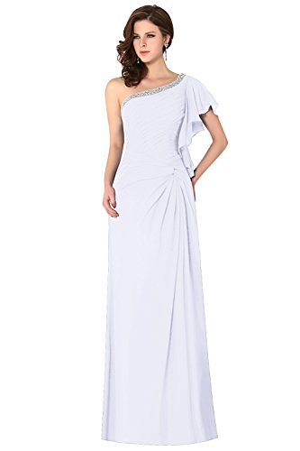 Dasior Les Cristaux De Femmes Une Robe De Demoiselle D'honneur En Mousseline De Soie Noeud Manches Drapée Épaule Froncé Blanc