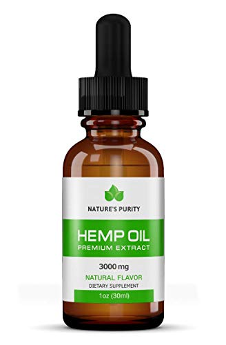 Premium Organic Hemp Oil by Nature's Purity - 3000mg Ultra Strength - 100% Natural, Reduces Anxiety, Inflammation, Joint Pain, S