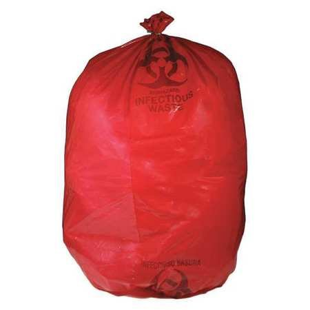 Biohazard Bags, 30 to 32 gal., Red, PK250 by GRAINGER APPROVED
