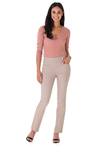 Khaki Career Pants - Rekucci Women's Ease Into Comfort Everyday Chic Straight Pant w/Tummy Control (10,Khaki)