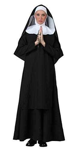 COSKING Nun Costume for Women, Deluxe Teen Girls Halloween Sister Cosplay Outfit (Tag Size-L)]()