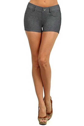 Bella Skort - Belle Donne - Women's Short Moleton Style Solid Color Ultra Stretch Fitted Short - Gray/Small
