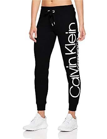 Calvin Klein Women's Rib Trim Logo Fleece Pants, Black/White, S