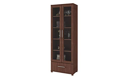 Dining Room Glass Curio Cabinet - Manhattan Comfort 75AMC164 Serra Modern Storage Bookcase with Glass Door, Nut Brown