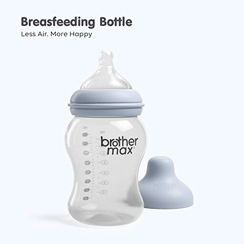 Brother Max Breastmilk Baby Bottles for Breastfed Babies, Breastfeeding Newborn Breast Like, Anti-Colic Valve, Easy Latch, Medium Flow, (8oz, Blue)