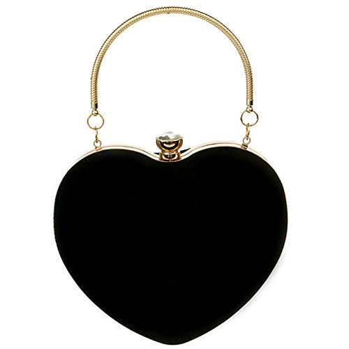 LABANCA Women's Suede Heart Shape Evening Party Bag Messenger Purse Handbag Clutch Bag ()
