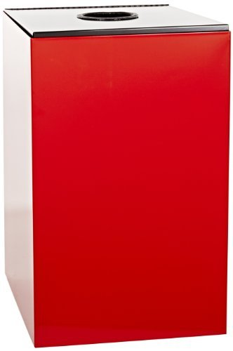 Witt Industries 24GC01-SC Steel 24-Gallon Geo Cube Recycling Container, Round Opening, Legend Cans, Square, 15 Width x 15 Depth x 24 Height, Scarlet Red by Witt Industries