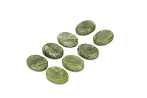 Aboval 8 Pcs Professional Small Massage Stones Natural Green Jade Hot Cold Stone for Spa, Massage Therapy (1.18 x 1.57 in)(3x4x0.8cm)