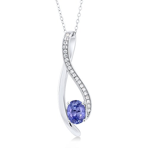 2.32 Ct Oval Blue Tanzanite 925 Sterling Silver Pendant and Earrings Set by Gem Stone King (Image #1)