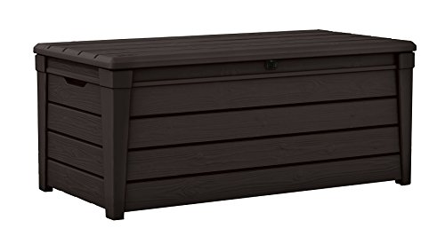 Keter Brightwood 120 Gallon Outdoor Resin Garden Patio Storage Furniture Deck Box (Outdoor Wood Storage Cabinet)