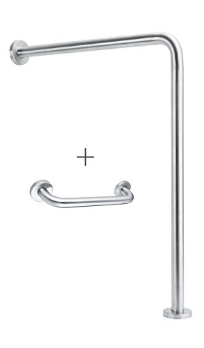 Wall-to-Floor Grab Bar - Corrosion-Free Stainless Steel - Concealed Mounting Flanges - Hardware Included - ADA Compliant - Free Grab Bar Included