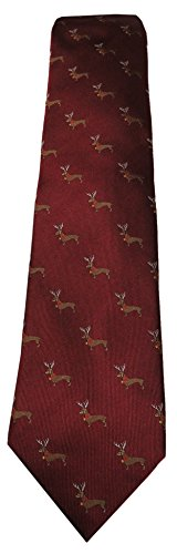 Used, Men's Chaps Holiday Stretch Tie - Wine Dolly Dachshund for sale  Delivered anywhere in USA