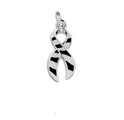 1 Large Zebra Print Ribbon Charm in a Bag (1 Charm - Retail) Sterling Silver Plated]()
