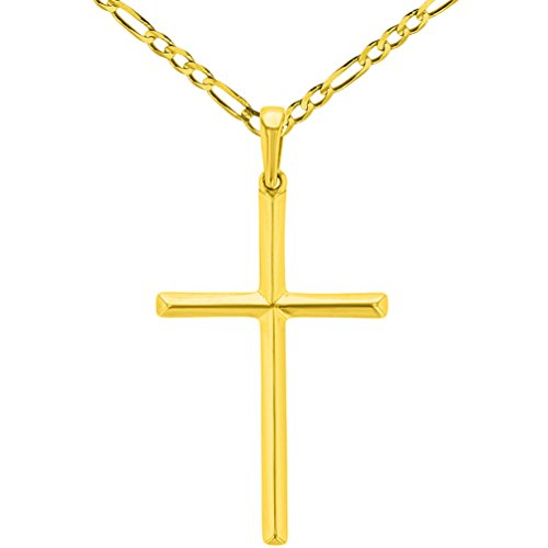 Solid 14K Yellow Gold Slender Plain Cross Charm Pendant Necklace Figaro Chain Necklace with High Polish, 18