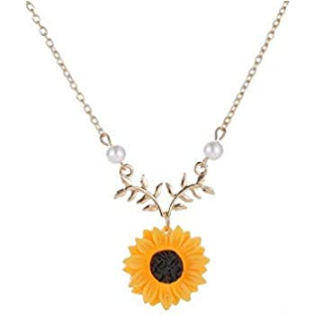 18d87b5d3a132 Keklle Sweet Sunflower Pearl Leaf Pendant Necklace Resin Daisy Flower  Clavicular Chain Fashion Jewelry for Women
