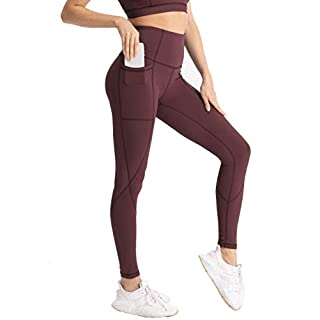 Hopgo Women's High Waist Workout Leggings Yoga Pants with Pockets Tummy Control 7/8 Sports Tights Port Royale US M
