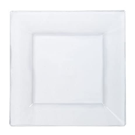 Lillian Tablesettings 10 Count Square Plastic Dinner Plates, 9.5u0026quot;, ...