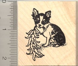 Chili Pepper Chihuahua Rubber Stamp - Wood Mounted