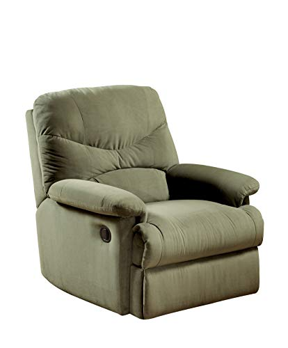 Benzara BM177507 Fabric Upholstered Recliner with Padded Arms, Sage ()