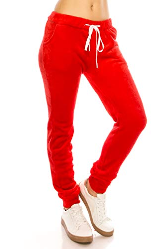 (ALWAYS Women Fuzzy Plush Joggers - Super Soft Winter Warm Elastic Waistband Drawstrings Pockets Sweatpants Red)