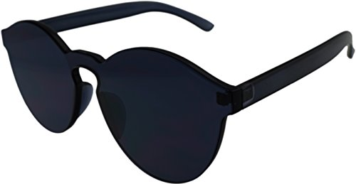 J&L Glasses Transparent Rimless Ultra-Bold Candy Color sunglasses (Black, - Sunglasses Transparent