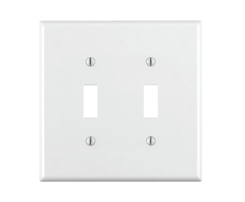 White Toggle Switchplate - Leviton 80709-W 2-Gang Toggle Device Switch Wallplate, Standard Size, Thermoplastic Nylon, Device Mount, White