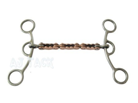 Barrel Gag Horse Bit 5.5 Inch Copper Bike Chain Mouth Stainless Steel Cheeks by AJ Tack