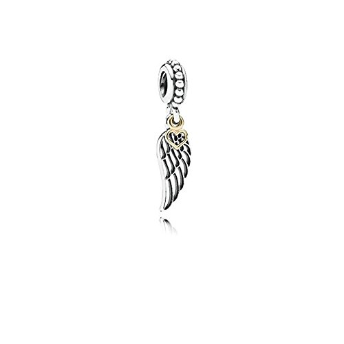- Dangle Angel Wing Love Heart Charms - S925 &Gold Plated Bead - Fit DIY European Bracelets
