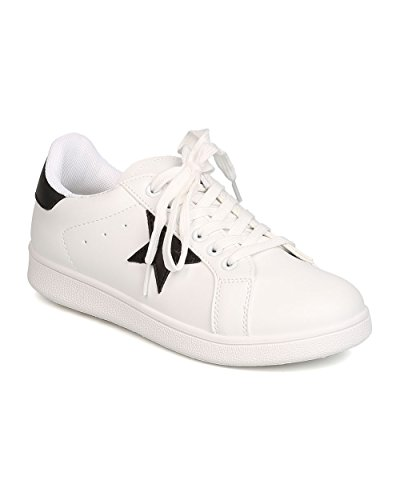 Qupid Ga99 Donna In Similpelle Bicolore Star Patch Lace Up Sneaker Bianco / Nero